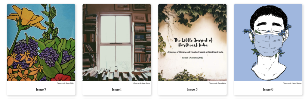 Covers of four issues of the magazine the little journal of northeast india